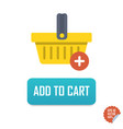 add to cart button icon with basket vector image