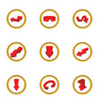 Different arrow icons set cartoon style vector image