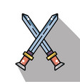 swords medieval element army in cross vector image