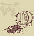 Template background for menu with a barrel of wine vector image