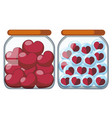 two jars full of heart shapes vector image