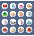 Vietnamese Symbols Flat Round Icons Set vector image