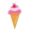 Ice Cream cone with cherries icon flat cartoon vector image
