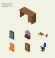 isometric furnishing set of cupboard chair vector image