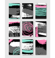 hand drawn ink doodles abstract design cards set vector image