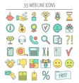 35 linear web icons Color moder line icons for vector image