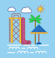Big water slide sun umbrella and tall palm on vector image