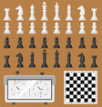 chess board and chessmen game shapes leisure vector image
