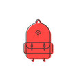 red backpack thin line icon vector image