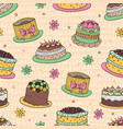 41 color cake seamless pattern vector image