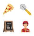 a pizza cutter a slice a menu in a pizzeria a vector image