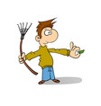 janitor sweeping the fallen leaves vector image
