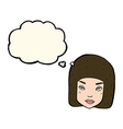 Cartoon annoyed female face with thought bubble vector image