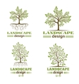 Landscape design company emblems Tree with roots vector image