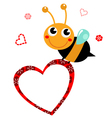 Cute beautiful Bee with blank heart vector image