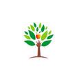 ecology hand green tree fresh fruit logo vector image