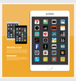 Flat Design Tablet Icon vector image