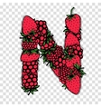 Letter N made from red berries sketch for your vector image