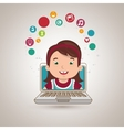 student laptop idea school vector image