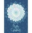 Xmas greeting card with hand drawn snowflake vector image