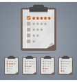 Clipboard with rating stars and checkboxes vector image
