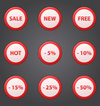 Shopping collection of sale discount red icons vector image