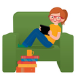 Girl sitting in a chair with the tablet vector image