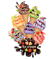 Ice cream composition vector image vector image