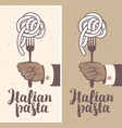 banner with italian pasta on fork in a hand vector image
