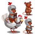 beaver knight on chicken cartoon animals character vector image