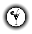 Cocktail glass button vector image
