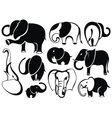Elephant set silhouette vector image