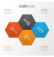 equipment icons set collection of garden fork vector image
