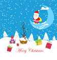 Merry christmas card with santaclaus and gift 2 vector image