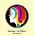 Rainbow hair saloon logo design vector image