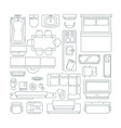 top view of different furniture set for layout of vector image