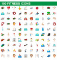 100 fitness icons set cartoon style vector image