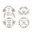 Boho tribal logo set with feathers vector image vector image