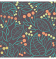seamless pattern with rowanberry and leaves vector image