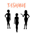 fashion woman silhouette in tight dresses vector image