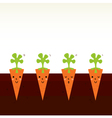 Cute beautiful cartoon Carrot characters in row vector image vector image