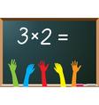 school students raising hands vector image vector image