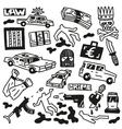 Crime - doodles vector image