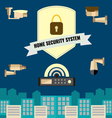 Home security cctv cam system flat design set vector image
