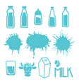 milk set of labels and icons vector image