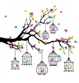 tree with birds and birdcages vector image