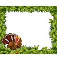 A green frame border with a turkey vector image