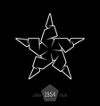 minimal monochrome origami star made of thin lines vector image