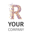 Alphabet particles logotype Letter-R vector image