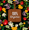 Raw vegetables food with 100 organic wood board vector image
